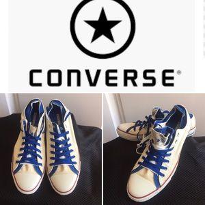 Men's Converse cream & blue double tongue